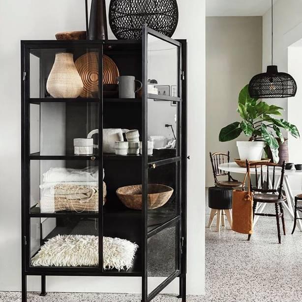 Oneworld Interiors Lámpara de suspensión de ratán - negro - Ø56cm