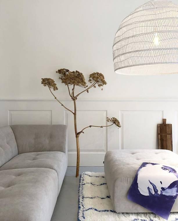 HK Living Wicker pendant lamp - white - Ø60xh50cm - HK Living