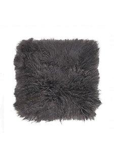 Broste Copenhagen Coussin de siège en peau d'agneau Tibet - gris foncé - 40x40cm - Broste Copenhagen