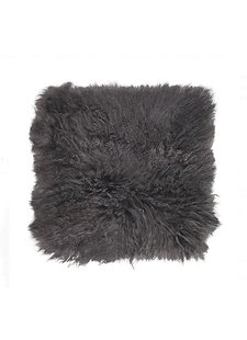 Broste Copenhagen Seat Cover / Cushion Tibetanian Lambskin - dark grey - 40x40cm - Broste Copenhagen