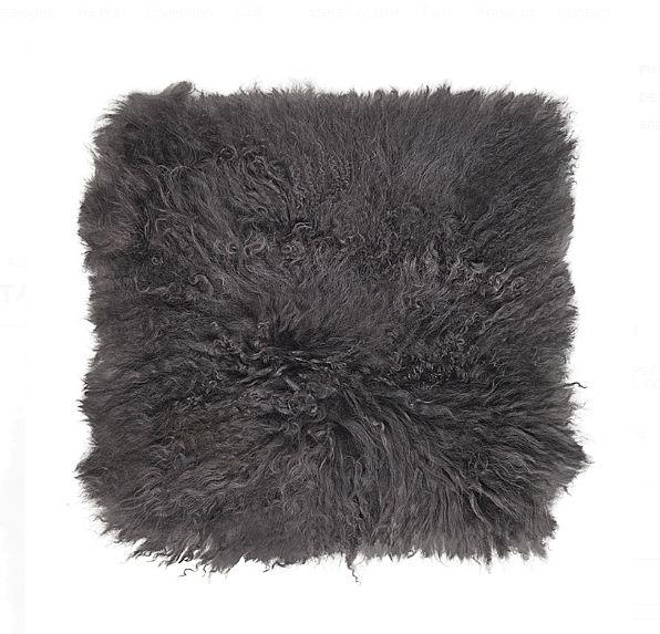 Broste Copenhagen Cojín de Asiento de Piel de Oveja de Tibet - gris oscuro - 40x40cm - Broste Copenhagen