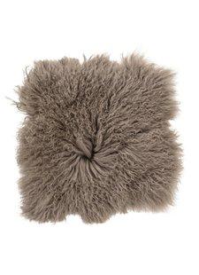 Bloomingville Coussin de siège en peau de mouton Mongolie - 40x40cm - marron - Bloomingville