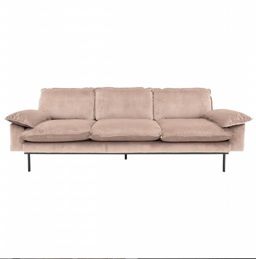 HK Living Retro sofa velvet - 3 seater - nude - 225x83x95cm - HK Living