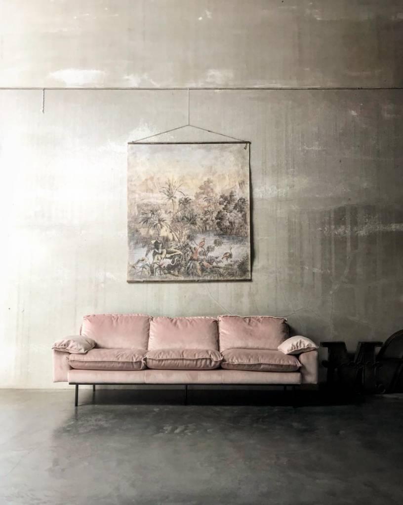 HK Living Canapé retro en velours - poudre rose - 175x83x95cm - HK Living