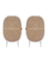 HK Living Lot de 2 tables chevet retro - bois / cannage - 38x33xh62cm - HK Living
