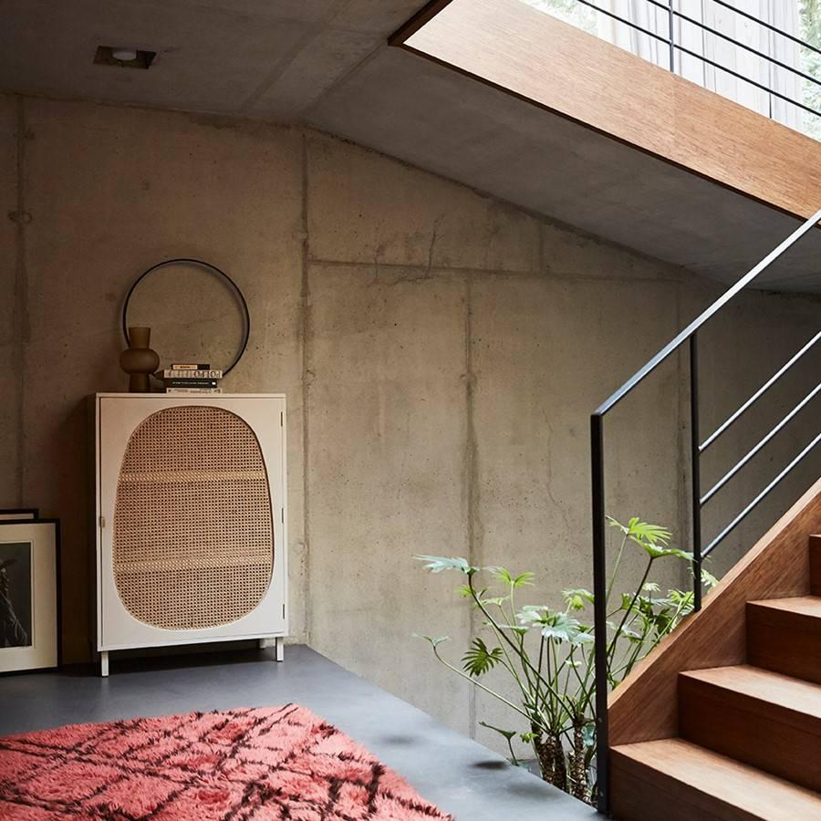 HK Living Armoire Retro - Bois / Cannage  - blanco / naturel - 85x35x122cm - HK Living