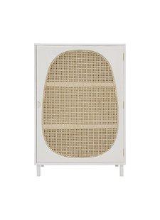 HK Living Armario Retro - madera / caña - blanco - 85x35xh122cm - HK Living