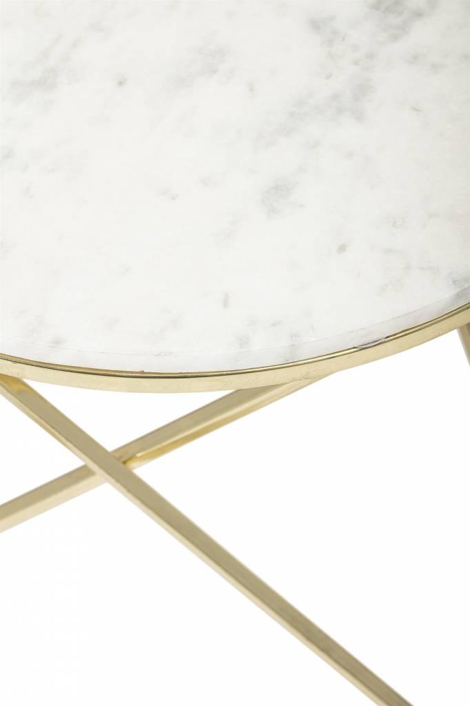 Bloomingville Table à café ronde - Marbre y Laiton - Ø57xh50cm - Bloomingville