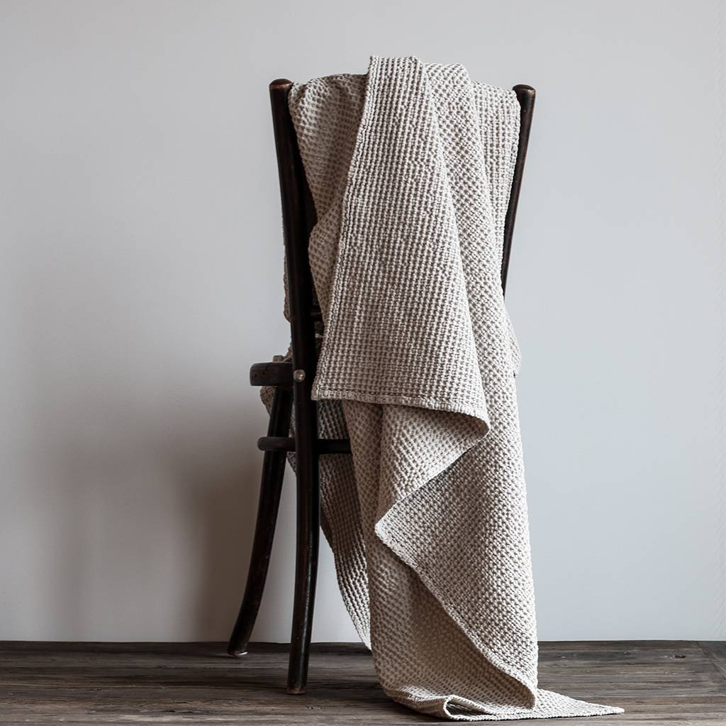 Tell me more Blanket in waffled cotton MIRO - Beige/Sand - 140x200cm - Tell Me More