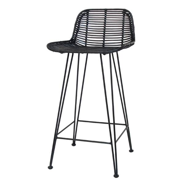 HK Living Rattan bar stool black - HK Living