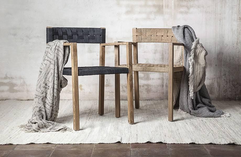Dareels Dinning Chair CORA in teak et robe - Natural/Black  - Dareels