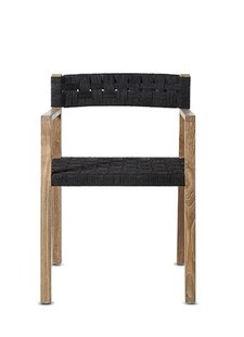 Dareels Dinning Chair CORA in teak et robe - Natural/Black  - Dareels