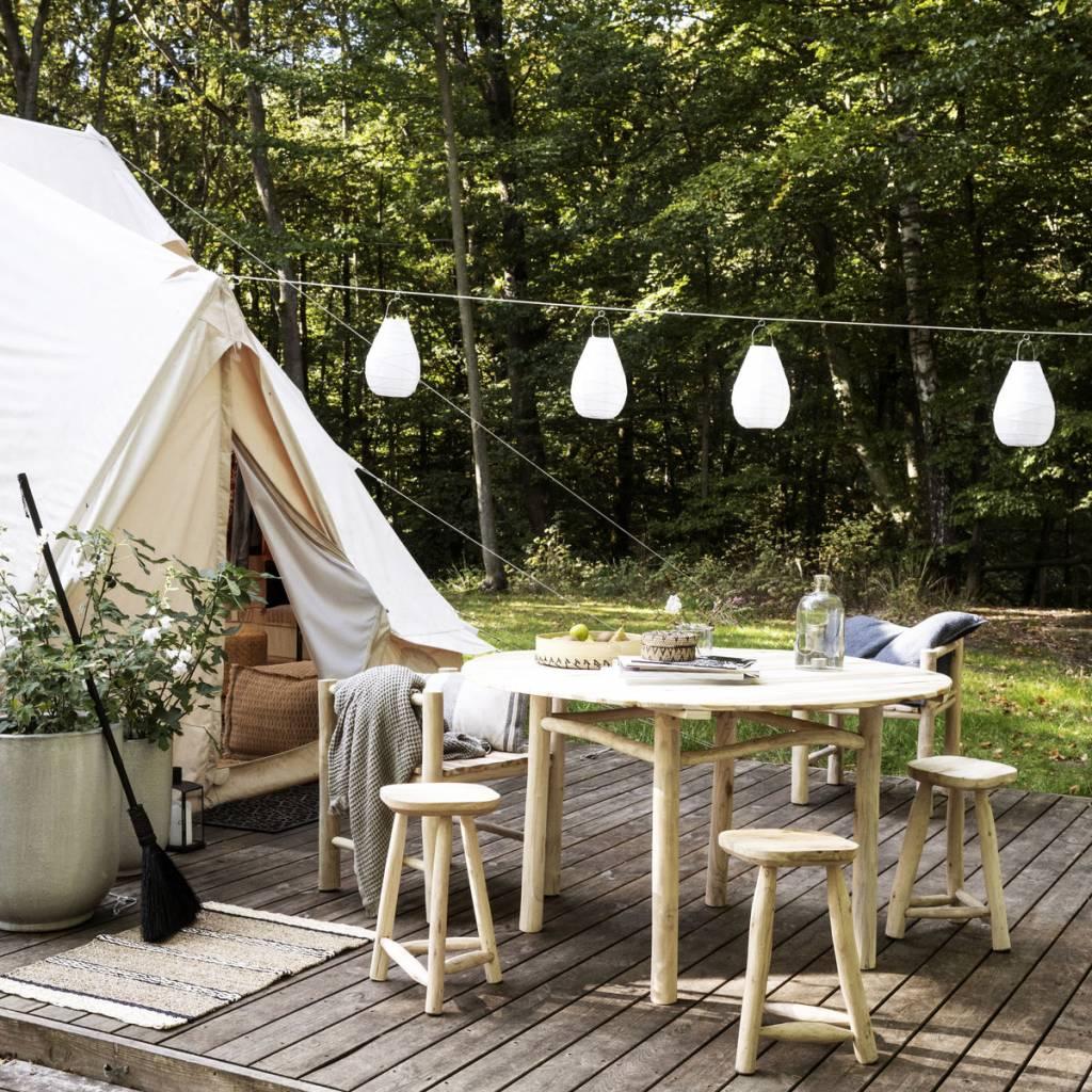 Table de jardin ronde - Teck - Naturel - Ø130xH74cm - House Doctor ...