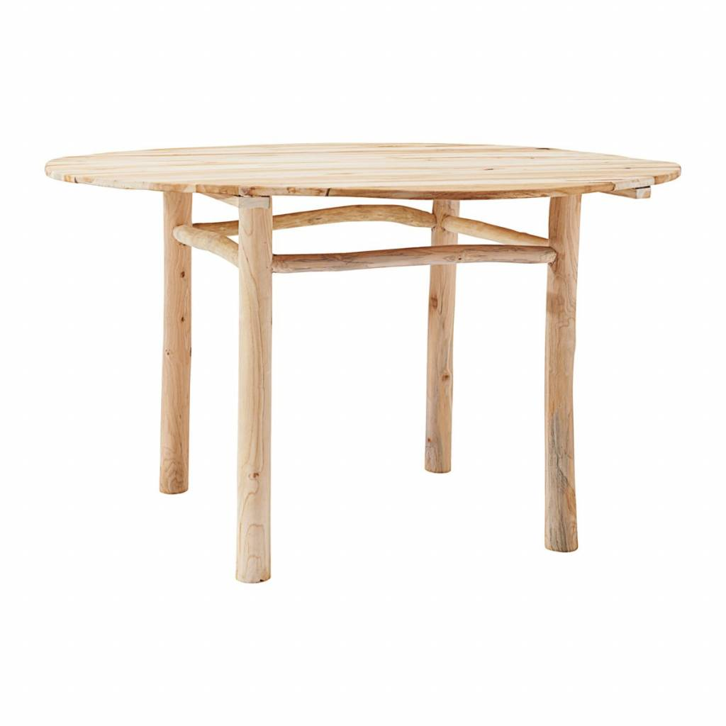 Table de jardin ronde - Teck - Naturel - Ø130xH74cm - House Doctor ...