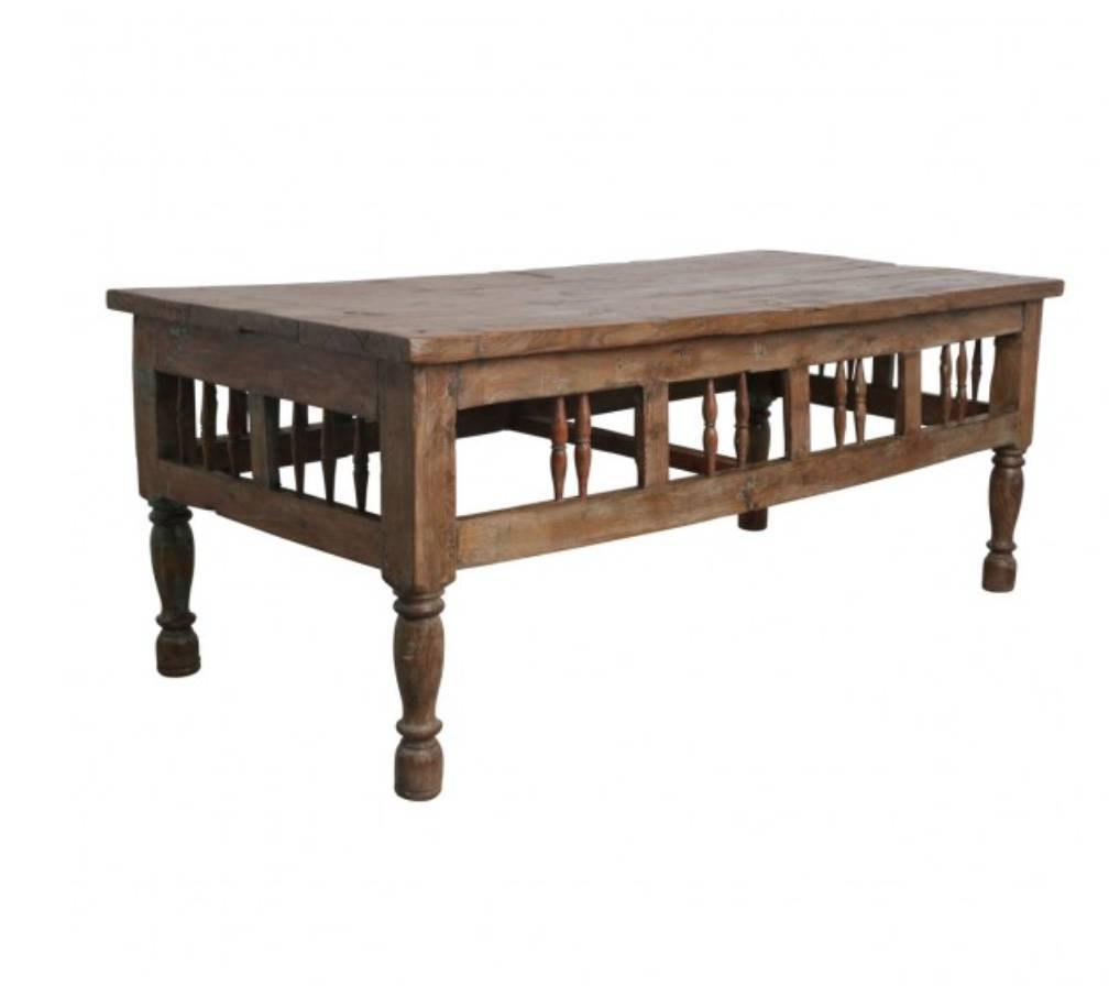 Petite Lily Interiors Teak spindle Coffee Table - 65x80xh66cm - Unique Piece