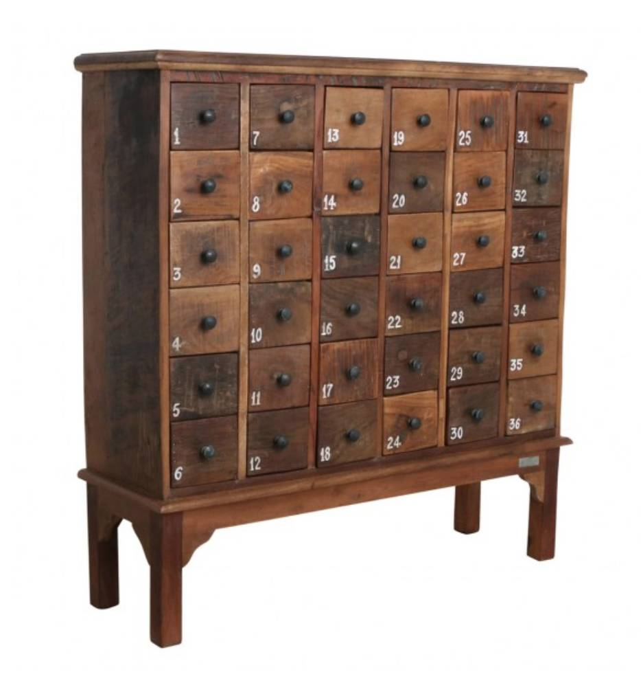 Petite Lily Interiors Factory cabinet 36-drawer - 105x32x110cm - Unique Piece