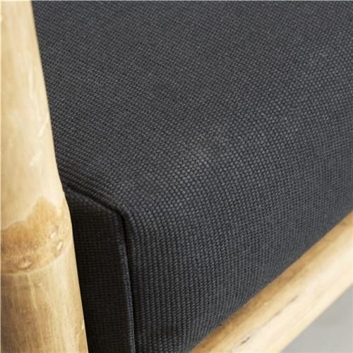 Lene Bjerre Design Banco al aire libre en bambu con cojín negro - 99x50x65cm - Lene Bjerre