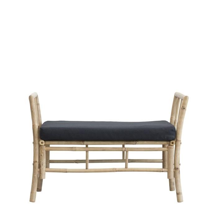 Lene Bjerre Design Banc de jardin en bambou avec coussin - noir - 99x50x65cm - Lene Bjerre