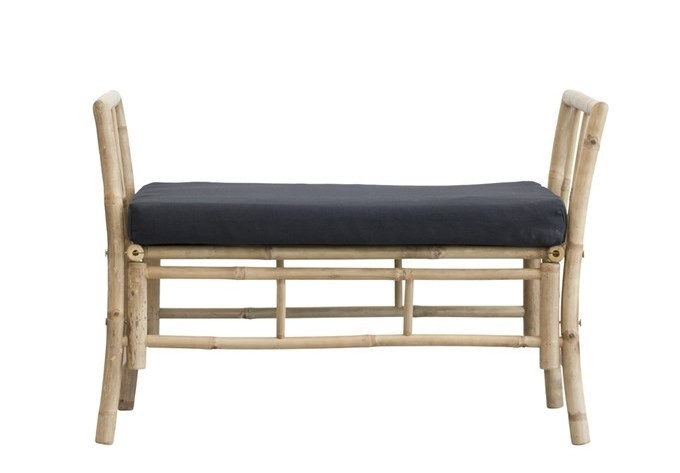 Lene Bjerre Design Bamboo bench white black mattress - Outdoor - 99x50x65cm - Lene Bjerre
