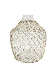HK Living wicker glass vase - Ø30xh32,5cm - HK Living