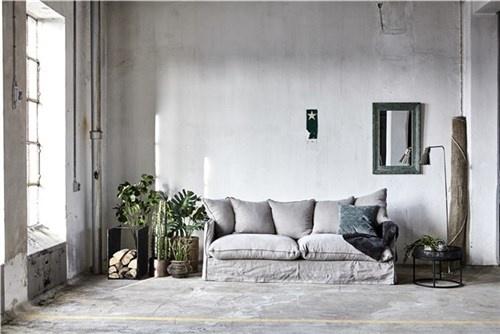 Lene Bjerre Design Linen Couch / Sofa - 210x95cm - dark sand - Lene Bjerre Design