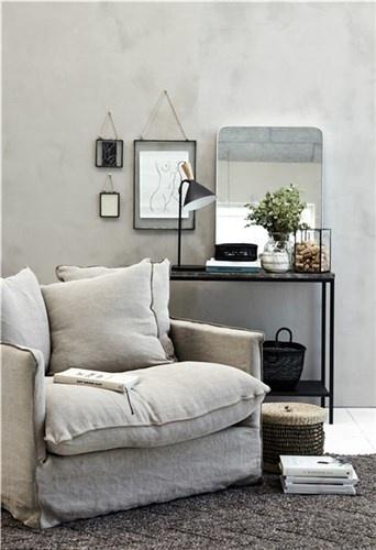Lene Bjerre Design Fauteuil en lin sable foncé -  L105xW95xH75cm - Lene Bjerre Design