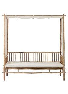 Lene Bjerre Design Banco al aire libre en bambu con cojín - blanco -  L210xW150xH220 - Lene Bjerre Design