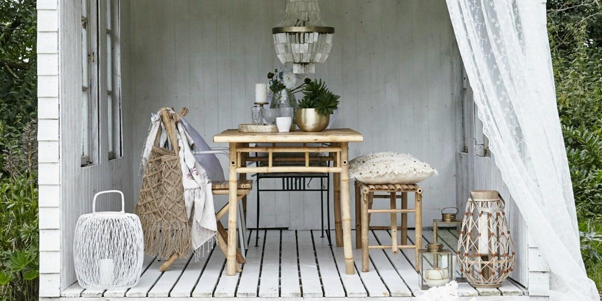 Lene Bjerre Design Table de aire libre  - bambú natural - 150x80x75cm - Natural Bamboo - Lene Bjerre
