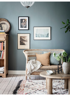 A bohemian chic decor combined with soft Scandinavian color tones