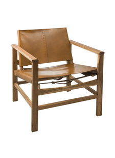 Eightmood Sweden lounge chair - Leather & Wood - H76xW69xD62 - Eightmood Sweden