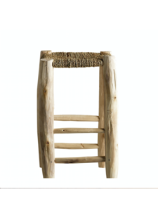 TineKHome Stool in palm leaf/wood - natural - Ø30xh50cm - Tinekhome