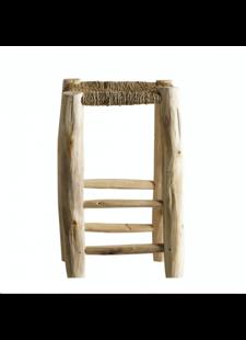 TineKHome Taburete en madera y hoja de palma - natural - Ø30x50cm - Tinekhome