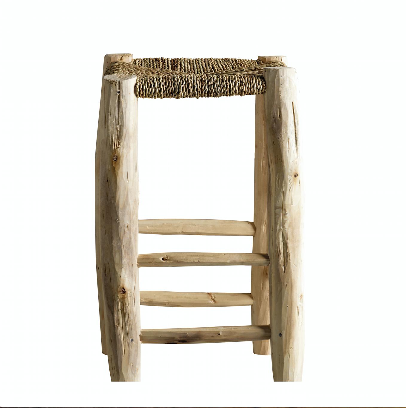 TineKHome Tabouret en bois et feuille de palmier - naturel - Ø30xh50cm - Tinekhome
