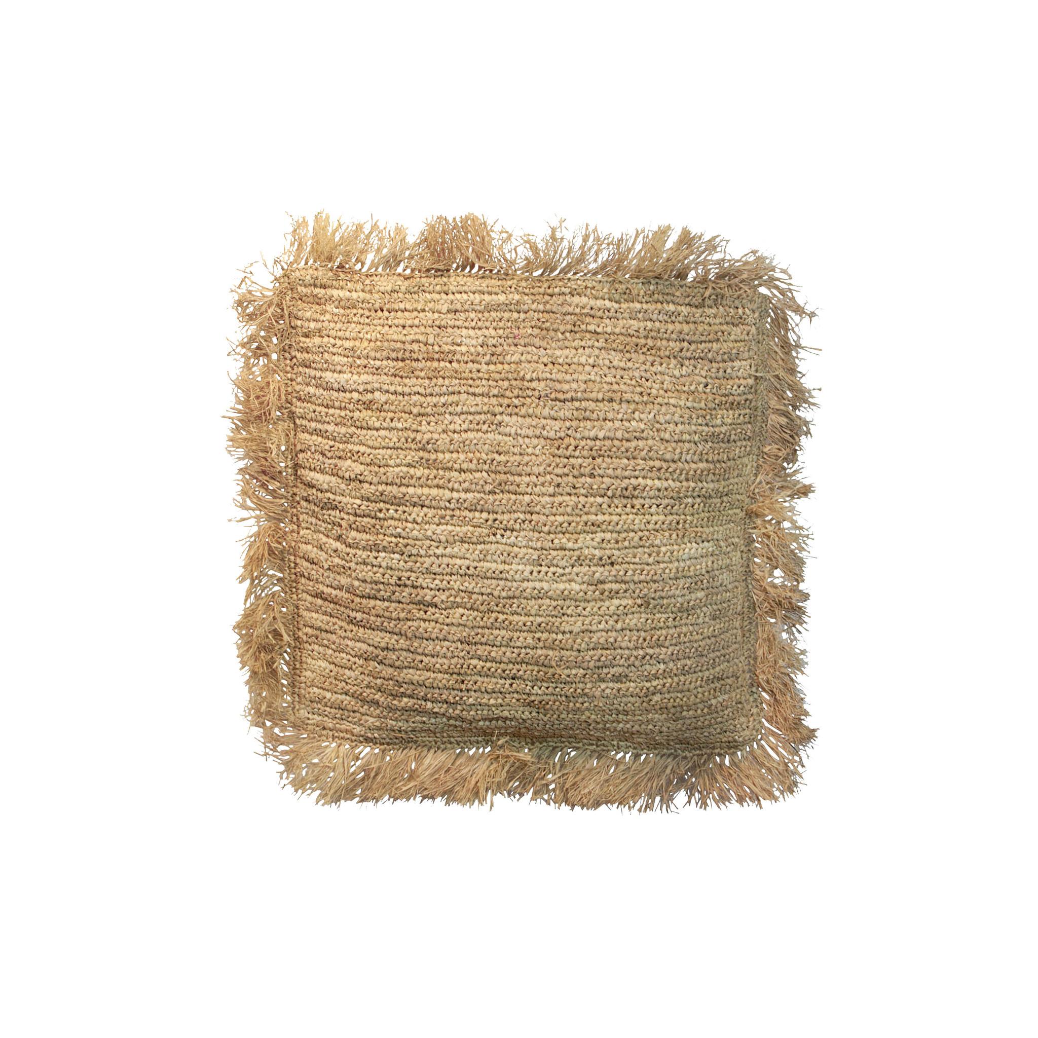 Cojín de rafia - natural - 40x40cm