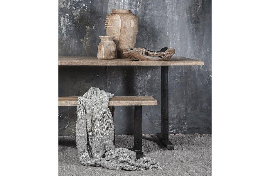 Dareels Table de salle à manger - teck et métal - 200xW90xH76cm - Dareels
