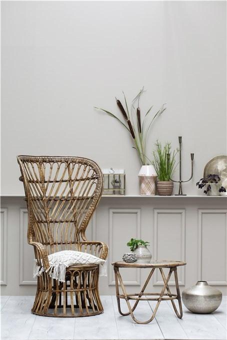 Lene Bjerre Design Mesa de Café en Ratán - Natural - Ø67x51cm - Lene Bjerre