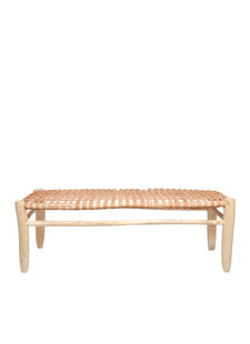 Banc Marocain en bois et cuir - 110x40cm - HouseHold Hardware