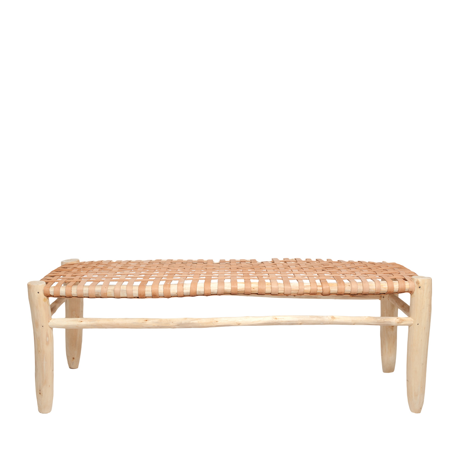 Household Hardware Moroccan bench w/ leather seating - 110x40cm - HouseHold Hardware