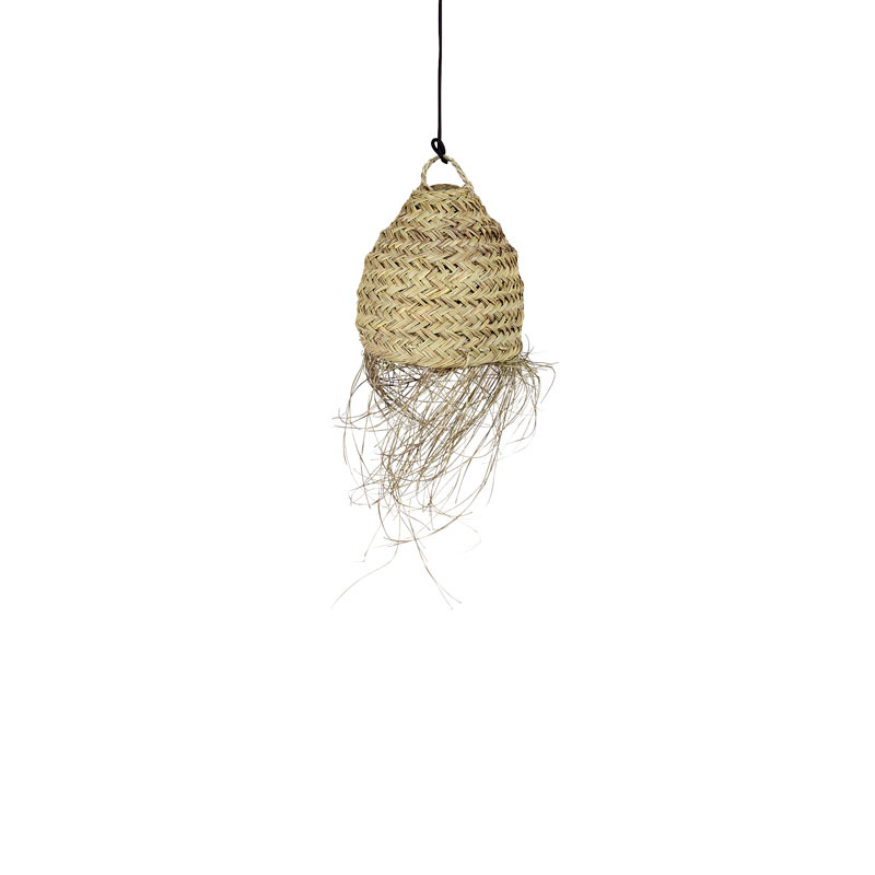 Household Hardware Lamp shade in woven palmleaves with fringes - Ø20 - naturel