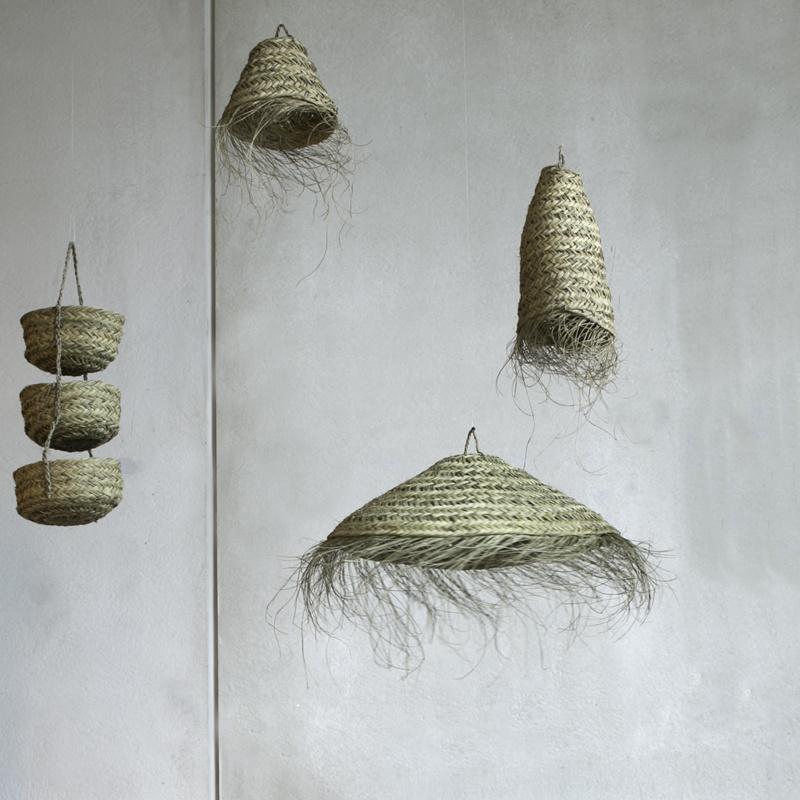 Lámpara marroquí con flecos de Pastos Marinos  - Ø70 - naturel
