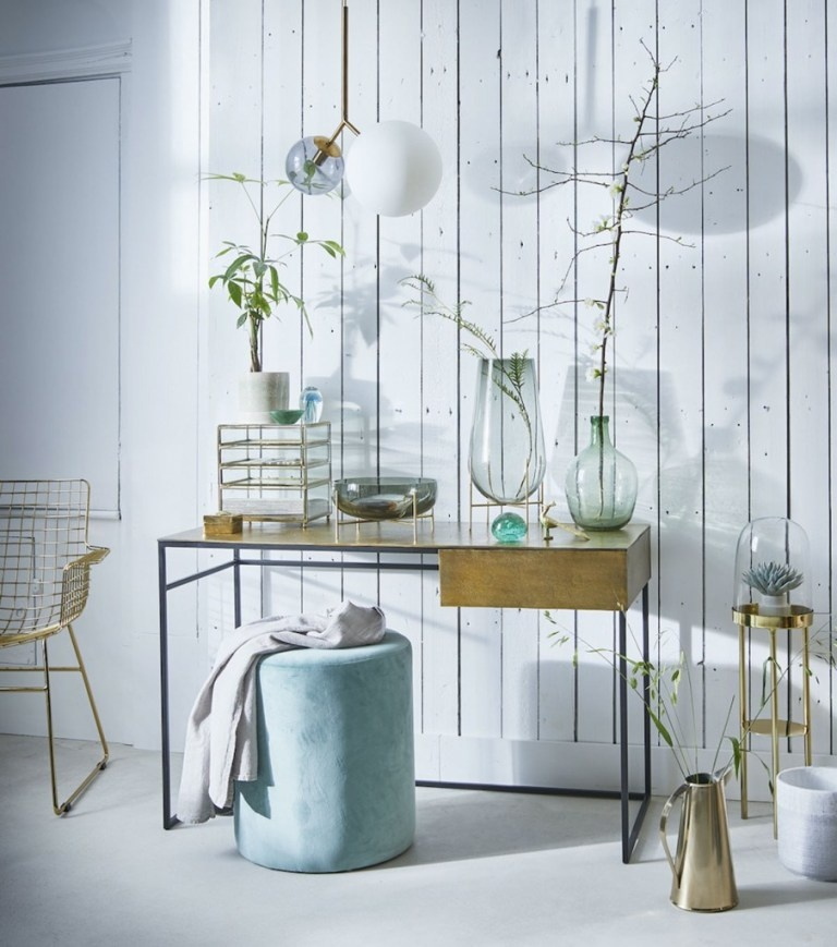 HK Living Set of 2 Brass WIRE chairs with arms - HK Living