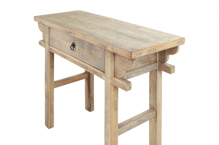 Table console avec tiroir - Bois brut - 110x42x80cm - pièce unique