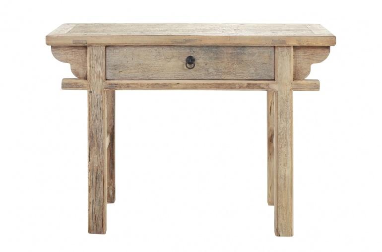 Petite Lily Interiors Table console avec tiroir - Bois brut - 110x42x80cm - pièce unique