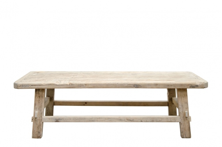 Natural coffee table raw wood - 140x54xh43cm