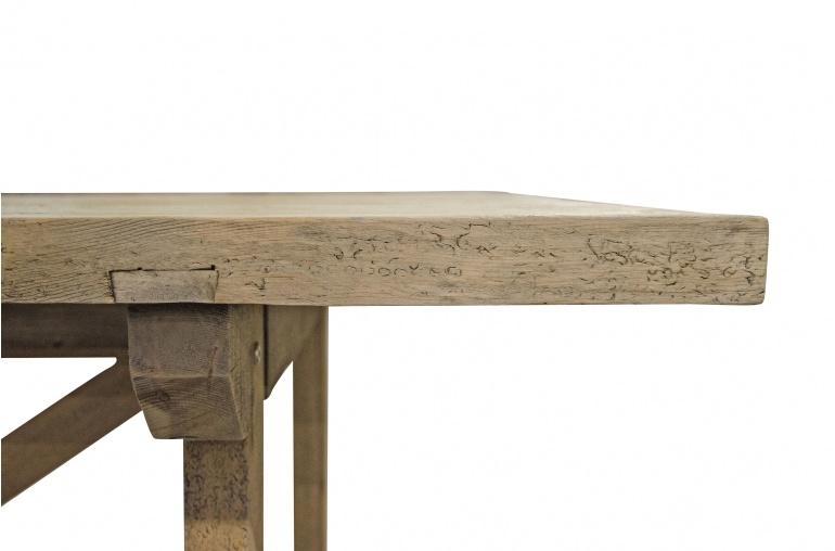 Petite Lily Interiors Table de salle à manger bois brut recyclé  - 220x85xH76cm  - Piece Unique