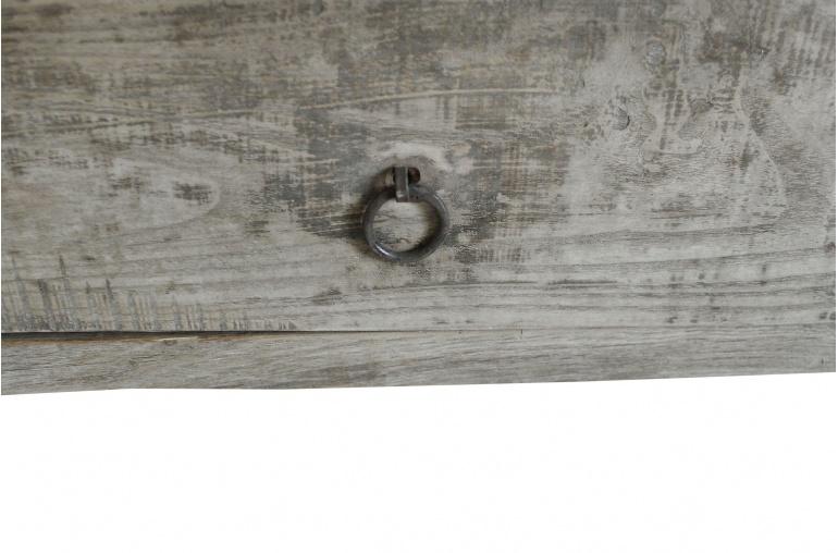 Table basse bois brut avec 2 tiroirs - 127x64xh46cm - Peuplier
