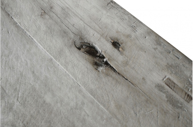 Mesa de salon de madera cruda con 2 cajones - 127x64xh46cm - Álamo