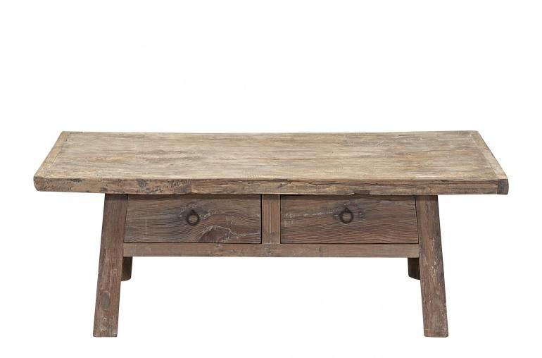 Raw wood coffee table w/ 2 drawers -127x64xh46cm - Elm Wood