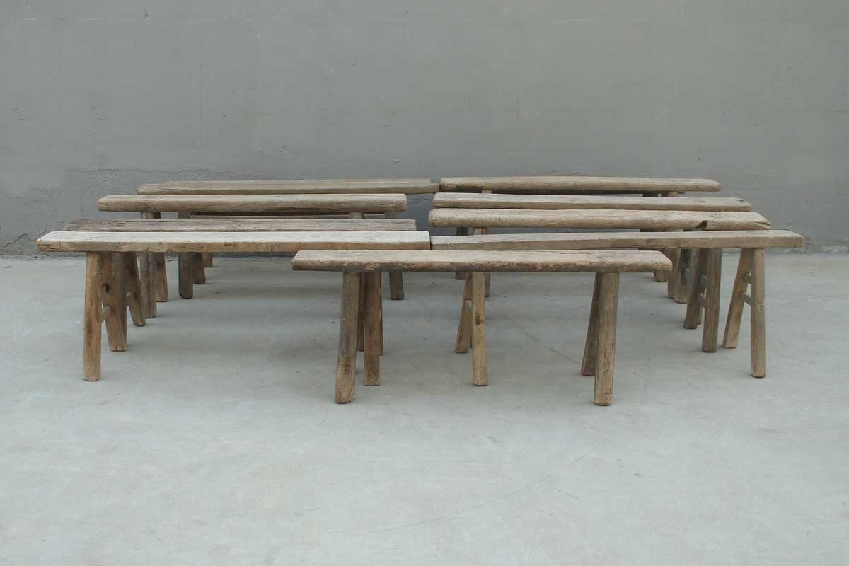 Bench Raw elm wood - aprox. 127x16xH50cm - Unique item