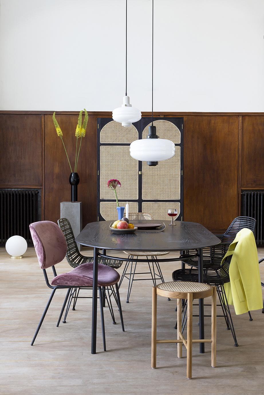 HK Living Retro webbing stool natural - Ø35xh80cm - HK Living